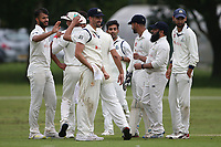 E Kalley of Wanstead celebrates with his team mates after taking the wicket of B Gordon during Hornchurch CC vs Wanstead and Snaresbrook CC, Hamro Foundation Essex League Cricket at Harrow Lodge Park on 10th July 2021