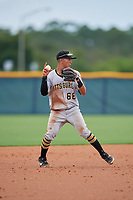 GCL Pirates shortstop Andres Alvarez (68) throws to first base during a Gulf Coast League game against the GCL Rays on August 7, 2019 at Charlotte Sports Park in Port Charlotte, Florida.  GCL Rays defeated the GCL Pirates 5-3 in the second game of a doubleheader.  (Mike Janes/Four Seam Images)