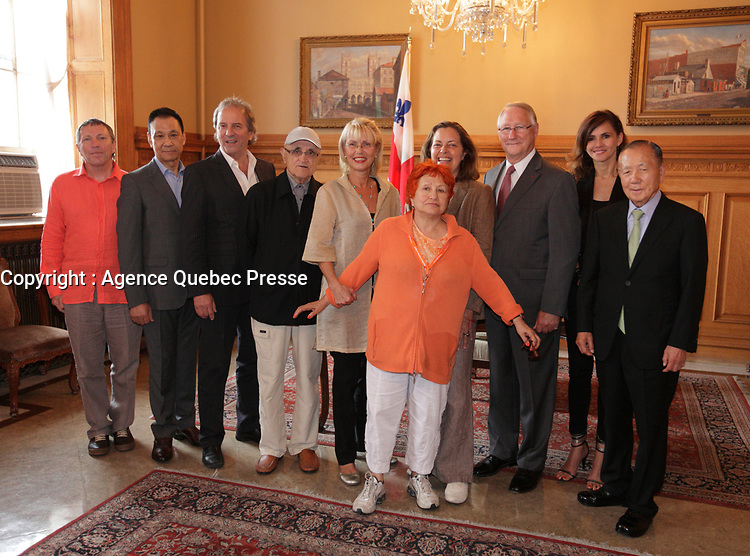 August 27 2012 - Montreal (Qc) CANADA - <br /> The jury of the 2012 World Film Festival at  Montreal City hall.<br /> (Left to right) : Andrei Plakhov,Wang Xueqi i, Michel Cote, Serge Losique, Helen Foutopoulos, Vera Belmont, , Greta Scacchi, Gerald Tremblay,, Goya Toledo,  Kim Dong Ho.<br /> <br /> The World Films Festival 35th edition run til September 2012.