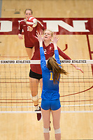 STANFORD, CA - NOVEMBER 17: Stanford, CA - November 17, 2019: Kathryn Plummer, Jenna Gray at Maples Pavilion. #4 Stanford Cardinal defeated UCLA in straight sets in a match honoring neurodiversity. during a game between UCLA and Stanford Volleyball W at Maples Pavilion on November 17, 2019 in Stanford, California.