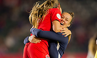 CARSON, CA - FEBRUARY 07: GK Sabrina D'Angelo #20 and Jayde Riviere #8 and the Canadian national team during a game between Canada and Costa Rica at Dignity Health Sports Complex on February 07, 2020 in Carson, California.
