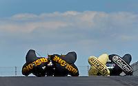 Jul. 24, 2011; Morrison, CO, USA: NHRA funny car driver Paul Lee (left) alongside Mike Neff during the Mile High Nationals at Bandimere Speedway. Mandatory Credit: Mark J. Rebilas-