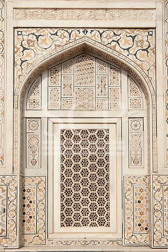 Agra, Utar Pradesh, India. Baby Taj. Lattice carved window with pietra dura (parchin kari) inlay and marble.