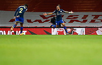 17th December 2020, Emirates Stadium, London, England;  Southamptons Theo Walcott celebrates after scoring a goal with his teammate Kyle Walker-Peters during the English Premier League match between Arsenal and Southampton