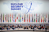 """United States President Barack Obama, center, speaks during an opening plenary entitled """"National Actions to Enhance Nuclear Security"""" at the Nuclear Security Summit in Washington, D.C., U.S., on Friday, April 1, 2016. After a spate of terrorist attacks from Europe to Africa, Obama is rallying international support during the summit for an effort to keep Islamic State and similar groups from obtaining nuclear material and other weapons of mass destruction. <br /> Credit: Andrew Harrer / Pool via CNP"""