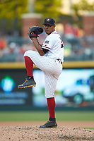 Charlotte Knights relief pitcher Jeanmar Gomez (9) in action against the Durham Bulls at BB&T BallPark on July 4, 2018 in Charlotte, North Carolina. The Knights defeated the Bulls 4-2.  (Brian Westerholt/Four Seam Images)