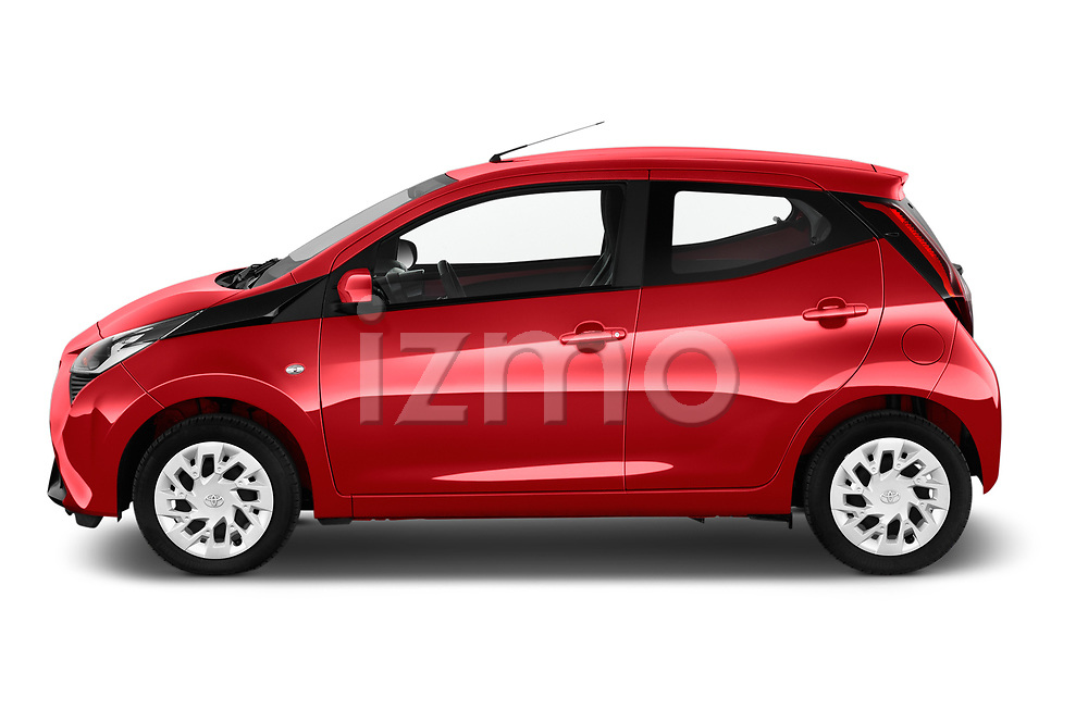 Car Driver side profile view of a 2019 Toyota Aygo x-Play 5 Door Hatchback Side View