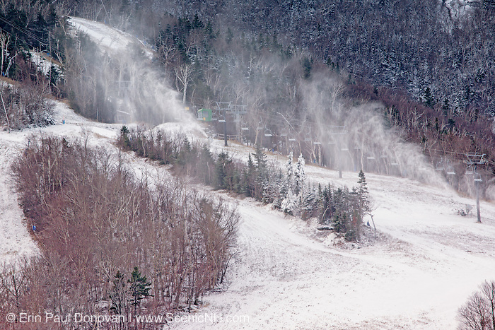 Franconia Notch State Park - Snow making at Cannon Mountains during the late autumn months in the White Mountains, New Hampshire USA