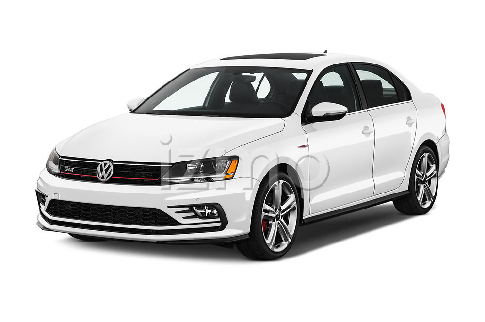 2017 Volkswagen Jetta GLI 4 Door Sedan Angular Front stock photos of front three quarter view