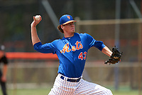 GCL Mets pitcher Jace Beck (43) during a Gulf Coast League game against the GCL Marlins on August 11, 2019 at St. Lucie Sports Complex in St. Lucie, Florida.  GCL Marlins defeated the GCL Mets 3-2 in the second game of a doubleheader.  (Mike Janes/Four Seam Images)