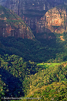 High sandstone cliffs and tropical forest at Los Volcanes Ecolodge, Amboró National Park, Santa Cruz, Bolivia.