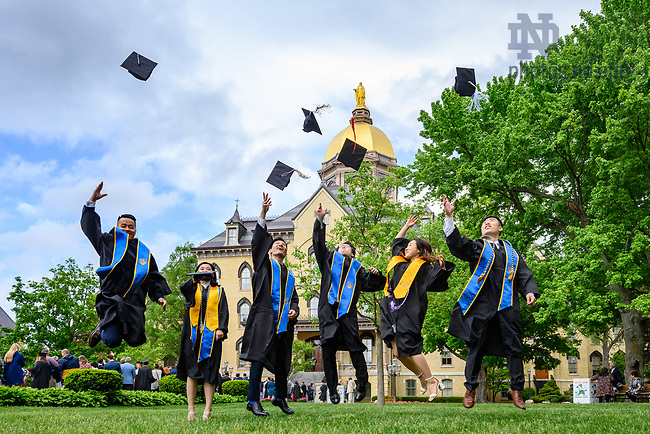 May 19, 2019; Graduates celebrate after Commencement 2019. (Photo by Matt Cashore/University of Notre Dame)