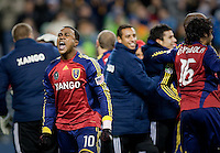 SEATTLE, WA--Real Salt Lake forward Robbie Findley celebrates their win during the MLS Cup championships at Qwest field in Seattle. SUNDAY, NOVEMBER 22, 2009. PHOTO BY DON FERIA.