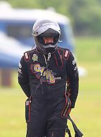May 1, 2016; Baytown, TX, USA; NHRA funny car driver Jim Campbell during the Spring Nationals at Royal Purple Raceway. Mandatory Credit: Mark J. Rebilas-USA TODAY Sports
