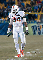Miami linebacker Thurston Armbrister. The Miami Hurricanes defeated the Pitt Panthers 41-31 at Heinz Field, Pittsburgh, Pennsylvania on November 29, 2013.