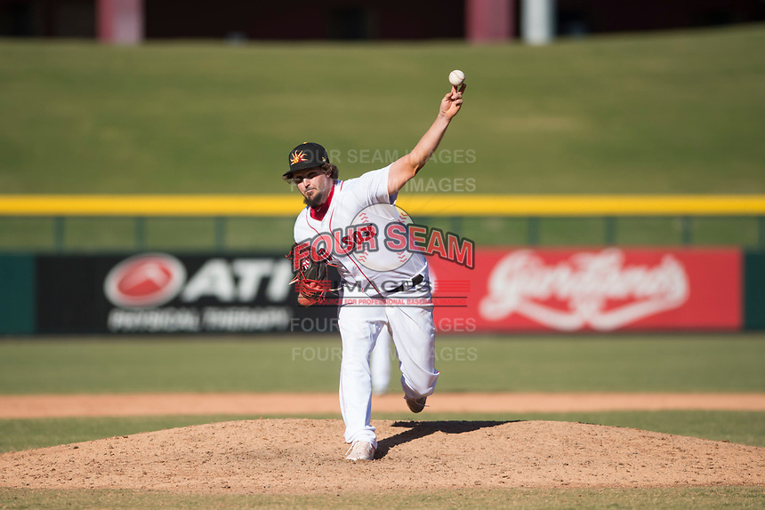Mesa Solar Sox relief pitcher Josh Taylor (39), of the Boston Red Sox organization, delivers a pitch during an Arizona Fall League game against the Salt River Rafters at Sloan Park on November 9, 2018 in Mesa, Arizona. Mesa defeated Salt River 5-4. (Zachary Lucy/Four Seam Images)