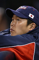 Takahiro Arai of Japan during World Baseball Championship at Angel Stadium in Anaheim,California on March 20, 2006. Photo by Larry Goren/Four Seam Images
