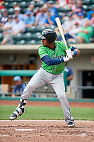 Gwinnett Stripers first baseman Carlos Franco (11) at bat during a game against the Columbus Clippers on May 17, 2018 at Huntington Park in Columbus, Ohio.  Gwinnett defeated Columbus 6-0.  (Mike Janes/Four Seam Images)