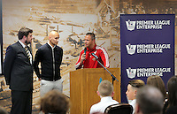 Pictured: Graham Smith spaks to Jonjo Shelvey and Lee Trundle Wednesday 25 November 2015<br /> Re: Schools take part in this year's Premier League Enterprise vent at Penderyn Suite, Liberty Stadium, Swansea, UK