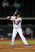 Mesa Solar Sox Zack Short (2), of the Chicago Cubs organization, at bat during an Arizona Fall League game against the Scottsdale Scorpions on September 18, 2019 at Sloan Park in Mesa, Arizona. Scottsdale defeated Mesa 5-4. (Zachary Lucy/Four Seam Images)