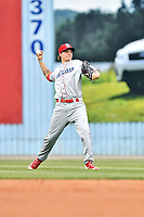 Lakewood BlueClaws center fielder Mickey Moniak (22) warms up between innings during a game against the Beer City Tourists at McCormick Field on June 1, 2017 in Asheville, North Carolina. The Tourists defeated the BlueClaws 8-5. (Tony Farlow/Four Seam Images)