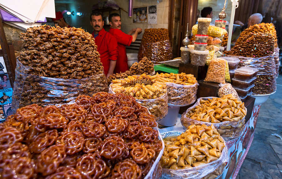 Fes, Morocco.  Pastries for Sale in the Medina, Fes El-Bali.