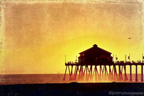 Sunset at Huntington Beach and the pier