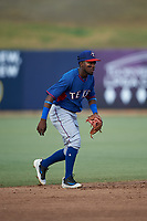 AZL Rangers shortstop Osleivis Basabe (2) during an Arizona League game against the AZL Brewers Blue on July 11, 2019 at American Family Fields of Phoenix in Phoenix, Arizona. The AZL Rangers defeated the AZL Brewers Blue 5-2. (Zachary Lucy/Four Seam Images)