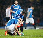 Nicky Clark gongratulates Lee Wallace after setting him up with a cross to score