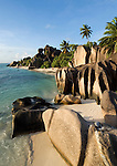 Seychelles, Island La Digue, Anse Source d'Argent: famous beach with granite rocks - popular with filmmakers