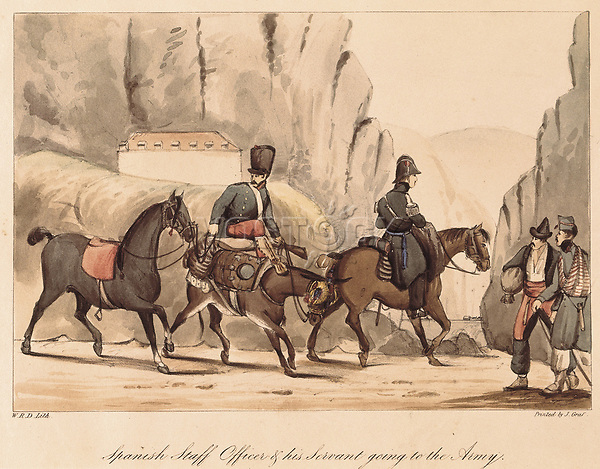 """Spain. First Carlist War. Spanish officer and his servant going to the war, 1835. Illustration of """"Album of Carlist Troops of"""