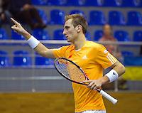 04-03-11, Tennis, Oekraine, Kharkov, Daviscup, Oekraine - Netherlands, Thiemo de Bakker  wint de tweede partij