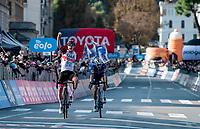 Tadej Pogacar (SVN/UAE-Emirates) wins the duo sprint into Bergamo against Fausto Masnada (ITA/Deceuninck - Quick Step)<br /> <br /> 115th Il Lombardia 2021 (1.UWT)<br /> One day race from Como to Bergamo (ITA/239km)<br /> <br /> ©kramon