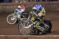 Heat 15: Justin Sedgmen (red) and Scott Nicholls (blue) - Lee Richardson Memorial Speedway Meeting at Arena Essex Raceway, Purfleet - 28/09/12 - MANDATORY CREDIT: Gavin Ellis/TGSPHOTO - Self billing applies where appropriate - 0845 094 6026 - contact@tgsphoto.co.uk - NO UNPAID USE.