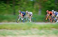 Pirmin Lang (SHE/IAM) & Christophe Riblon (FRA/AG2R-La Mondiale) speeding along in the breakaway<br /> <br /> Amstel Gold Race 2014