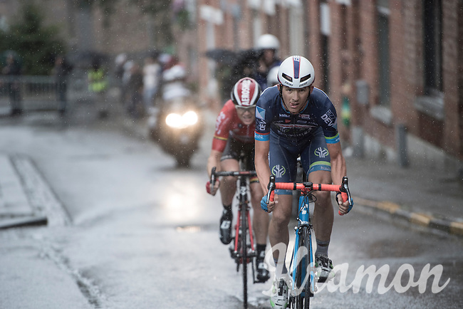 In the last local lap race leaders Dimitri Claeys (BEL/Wanty - Groupe Gobert) & Pim Ligthart (NED/Lotto-Soudal) have a relatively gap of 40 seconds when they hit the steep Wijpersstraat & Claeys attacks off the front to try & shake Ligthart off before the finish line<br /> <br /> GP Jef Scherens - Leuven 2016