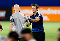 CARSON, CA - SEPTEMBER 06: Head coaches of LAFC Bob Bradley and Guillermo Barros Schelotto of the Los Angeles Galaxy during a game between Los Angeles FC and Los Angeles Galaxy at Dignity Health Sports Park on September 06, 2020 in Carson, California.