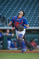 AZL Cubs 1 catcher Henderson Perez (8) during an Arizona League game against the AZL Giants Orange on July 10, 2019 at Sloan Park in Mesa, Arizona. The AZL Giants Orange defeated the AZL Cubs 1 13-8. (Zachary Lucy/Four Seam Images)