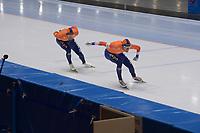SPEEDSKATING: 23-11-2019 Tomaszów Mazowiecki (POL), ISU World Cup Arena Lodowa, 1500m Men Division A, Kjeld Nuis (NED), Patrick Roest (NED), ©photo Martin de Jong