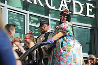Pictured: Saturday 17 September 2016<br /> Re: Roald Dahl's City of the Unexpected has transformed Cardiff City Centre into a landmark celebration of Wales' foremost storyteller, Roald Dahl, in the year which celebrates his centenary.<br /> The Tumps flash mob at Queens Arcade.