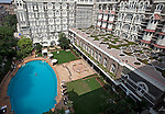 MUMBAI, INDIA - SEPTEMBER 27, 2010: The vast pool which in earlier days was the main entrance to the Taj Mahal Palace and Tower Hotel in Mumbai. The hotel has re-opened after the terror attacks of 2008 destroyed much of the heritage wing. The wing has been renovated and the hotel is once again the shining jewel of Mumbai. pic Graham Crouch