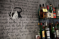 Detail of artwork on the wall of restaurant 'Chat Noir, Chat Blanc', Nice, France, 10 April 2012. The wall decorations were inspired by pages taken from sous-chef Nicolas Sikic's grandmother's personal recipe book. Her handwritten recipies were enlarged (artwork by Nomada).