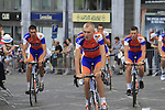 Rabobank Cycling Team led by Robert Gesink (NED) and Mark Renshaw (AUS) arrive at the Team Presentation Ceremony before the 2012 Tour de France in front of The Palais Provincial, Place Saint-Lambert, Liege, Belgium. 28th June 2012.<br /> (Photo by Eoin Clarke/NEWSFILE)