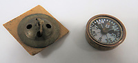 BNPS.co.uk (01202 558833)<br /> Pic: Marlow's/BNPS<br /> <br /> Pictured: WW2 RAF Escape and Evasion Fly Button Compass<br /> <br /> A fascinating collection of rare SOE and RAF escape and evasion items have emerged for sale for thousands of pounds.<br /> <br /> The array of concealed weapons, compasses and other devices were used by World War Two operatives and airmen behind enemy lines.<br /> <br /> A stand-out lot is a MI9 cigarette lighter whose top screws off to reveal a compass, while a 3.5ins escape knife would have been hidden in an RAF 'Beadon' flying suit.<br /> <br /> The collection of 20 items boasts a concealed fishing kit, silk maps which were woven into jackets and even a miniature telescope to scout out the enemy.<br /> <br /> They are going under the hammer with Marlow's Auctions, of Stafford, Staffs.