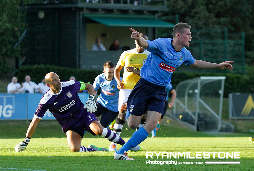 EVENT:<br /> UEFA Europa League, First Qualifying Round<br /> UCD v F91 Dudelange<br /> Thursday 2nd July 2015<br /> Belfield Bowl, Dublin<br /> <br /> CAPTION:<br /> Ryan Swan of UCD celebrates after scoring his sides first goal of the game.<br /> <br /> Photo By: Michael P Ryan