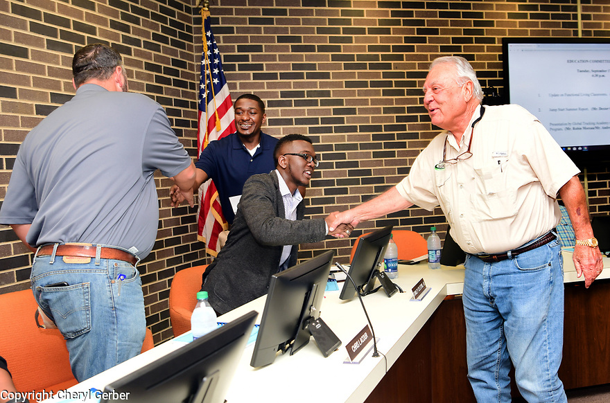 Stanley Celestine, Jr., 20 years old, at a Avoyelles Parish School Board meeting in Marksville, La., Sept. 17, 2017.