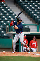 Atlanta Braves Jefry Ramos (49) at bat during a Florida Instructional League game against the Canadian Junior National Team on October 9, 2018 at the ESPN Wide World of Sports Complex in Orlando, Florida.  (Mike Janes/Four Seam Images)