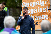 """Chris Baugh (Assistant General Secretary of PCS).<br /> <br /> London, 29/04/2017. Today, """"Campaign Against Climate Change"""" held a demonstration started at Old Palace Yard and ended on Westminster Bridge, where people formed a human chain showing the message: """"Trump & May Climate Disaster"""". The demonstration was in support and solidarity with the People's Climate March in the US (and over 350 other marches taking place across the globe) and to warn the British Prime Minister Theresa May to stop following Donald Trump """"down the path to climate disaster"""".<br />   <br /> For more information please click here: https://www.facebook.com/events/747422225425039/ & (Video) https://www.facebook.com/campaigncc/videos/1300562783385237/ & (Press Release) http://www.campaigncc.org/node/1782"""