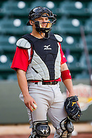 Carolina Mudcats catcher Tony Wolters (11) during fielding practice prior to the game against the Winston-Salem Dash at BB&T Ballpark on April 13, 2013 in Winston-Salem, North Carolina.  The Dash defeated the Mudcats 4-1.  (Brian Westerholt/Four Seam Images)