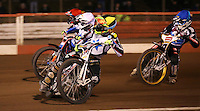 Heat 13: Scott Nicholls (yellow), Rory Schlein (white), Andreas Jonsson (red) and Richard Lawson (blue) - Lakeside Hammers v Rico's All Stars, The Rico Spring Classic at the Arena Essex Raceway, Pufleet - 20/03/15 - MANDATORY CREDIT: Rob Newell/TGSPHOTO - Self billing applies where appropriate - 0845 094 6026 - contact@tgsphoto.co.uk - NO UNPAID USE